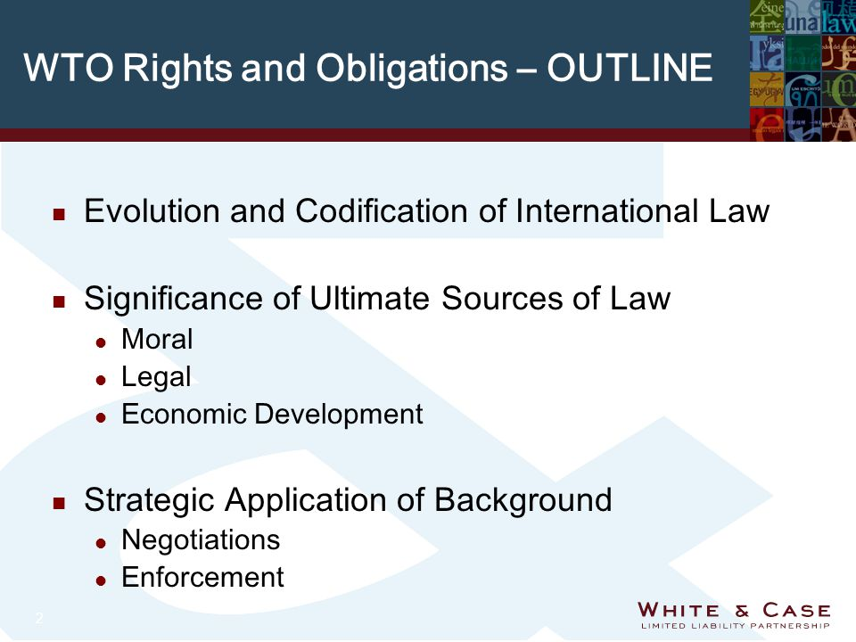 2 WTO Rights and Obligations – OUTLINE n Evolution and Codification of International Law n Significance of Ultimate Sources of Law l Moral l Legal l Economic Development n Strategic Application of Background l Negotiations l Enforcement