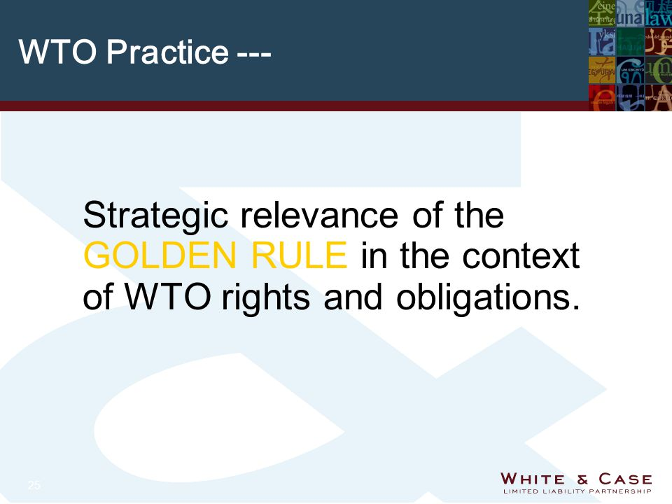 25 WTO Practice --- Strategic relevance of the GOLDEN RULE in the context of WTO rights and obligations.