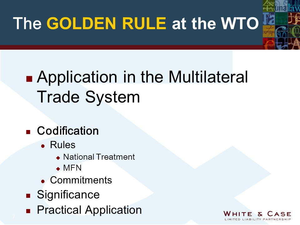 7 The GOLDEN RULE at the WTO n Application in the Multilateral Trade System n Codification l Rules u National Treatment u MFN l Commitments n Significance n Practical Application