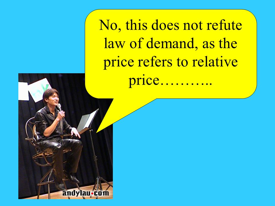 No, this does not refute law of demand, as the price refers to relative price………..