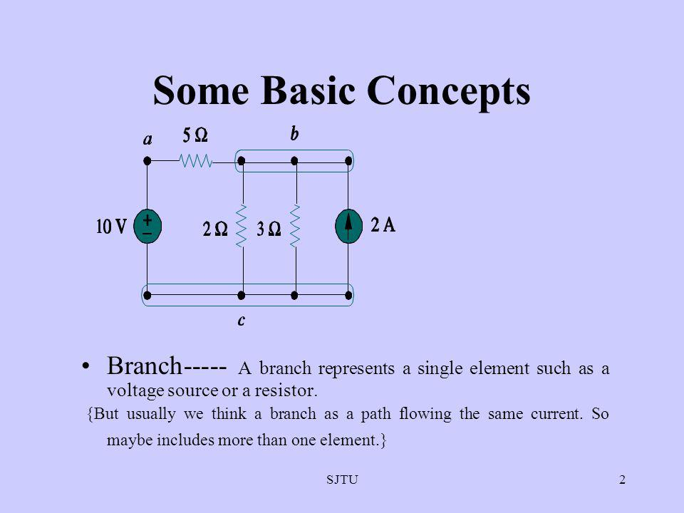 SJTU2 Some Basic Concepts Branch----- A branch represents a single element such as a voltage source or a resistor. {But usually we think a branch as a