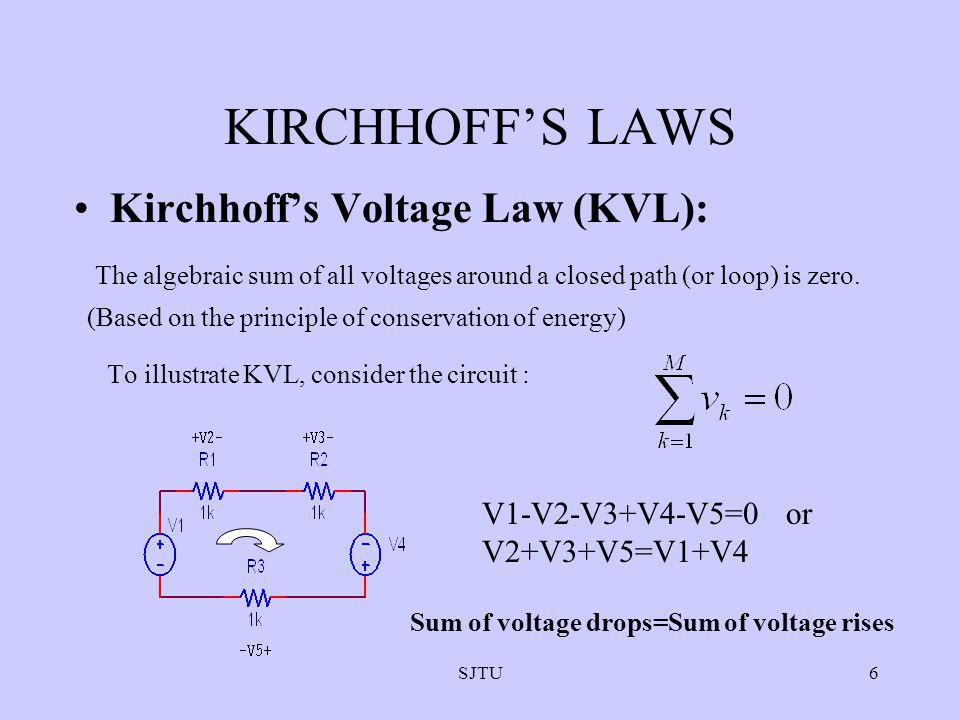 SJTU6 KIRCHHOFFS LAWS Kirchhoffs Voltage Law (KVL): The algebraic sum of all voltages around a closed path (or loop) is zero. (Based on the principle