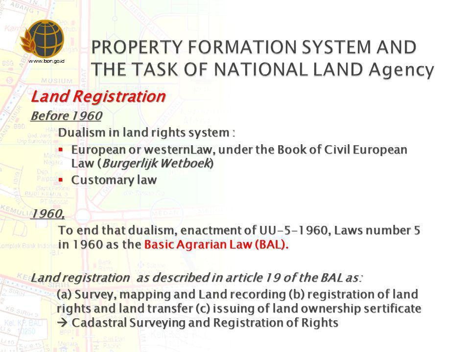 www.bpn.go.id Control and Authority of the Land is given (not owned) to the State Control and Authority of the Land is given (not owned) to the State Rights are recognised after registered to INLA Rights are recognised after registered to INLA Land Status : State Land and Private Land Land Status : State Land and Private Land Type of Rights: Type of Rights: Right of ownership (freehold) Right of ownership (freehold) Right of cultivate (leasehold) Right of cultivate (leasehold) Right of build (leasehold) Right of build (leasehold) Right of employ/use Right of employ/use Strata Title Strata Title Right of Management Right of Management Right of encumbrance/mortgage Right of encumbrance/mortgage