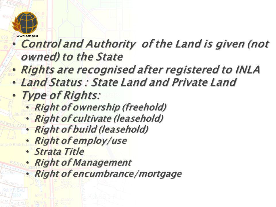 www.bpn.go.id Control and Authority of the Land is given (not owned) to the State Control and Authority of the Land is given (not owned) to the State