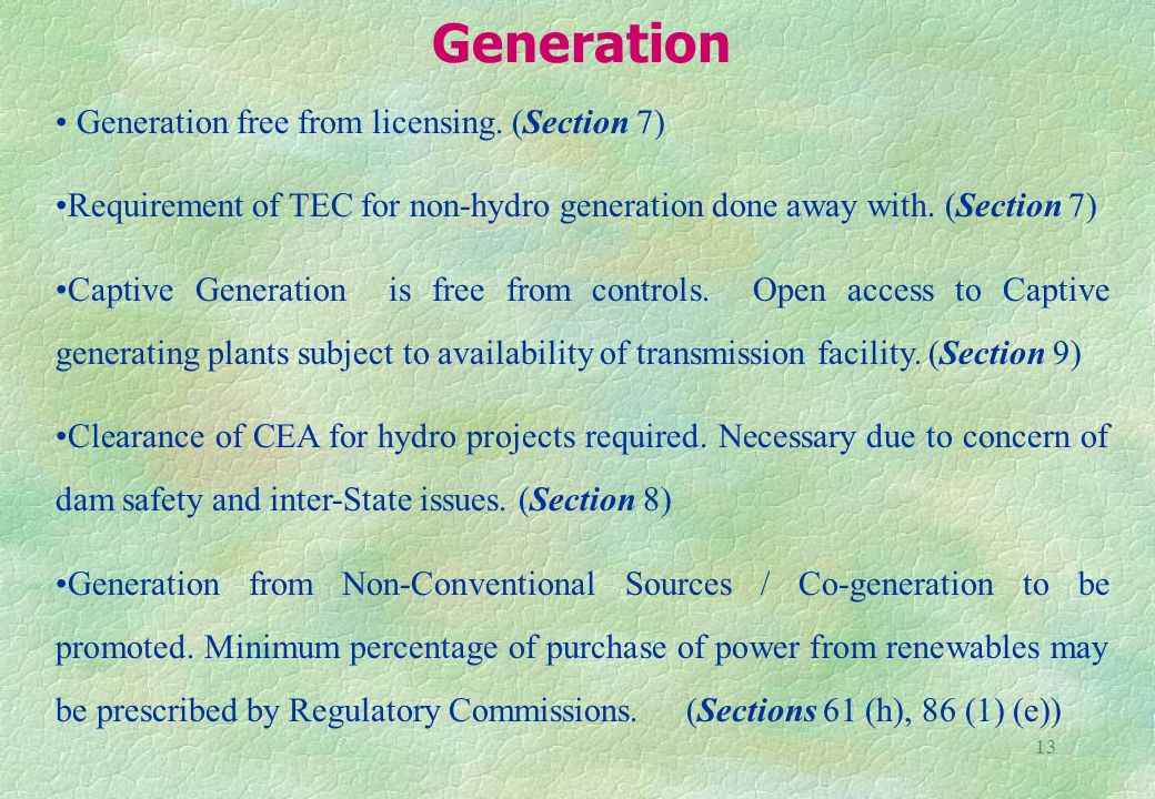 13 Generation free from licensing.