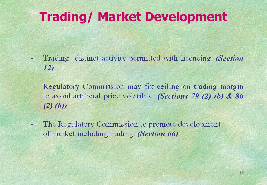 18 Trading/ Market Development