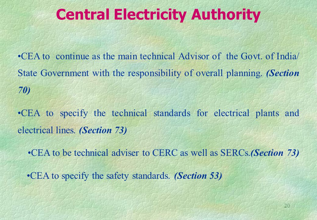 20 CEA to continue as the main technical Advisor of the Govt.