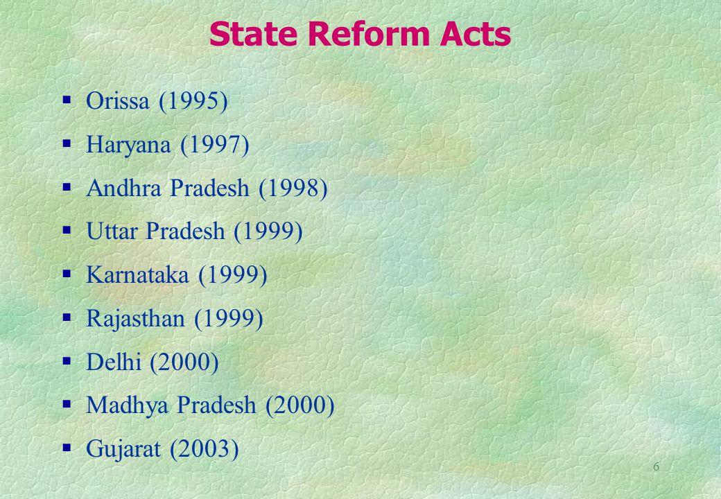 6 State Reform Acts Orissa (1995) Haryana (1997) Andhra Pradesh (1998) Uttar Pradesh (1999) Karnataka (1999) Rajasthan (1999) Delhi (2000) Madhya Pradesh (2000) Gujarat (2003)