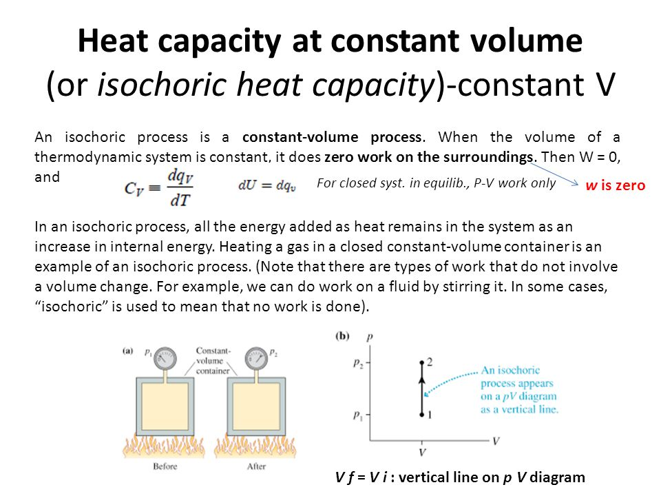 Heat capacity at constant volume (or isochoric heat capacity)-constant V V f = V i : vertical line on p V diagram An isochoric process is a constant-v