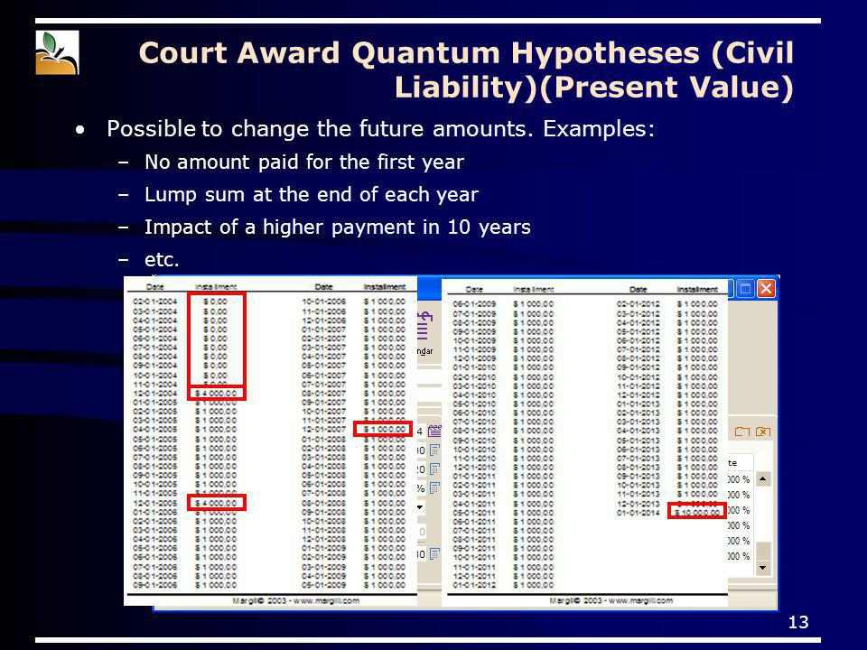 13 Court Award Quantum Hypotheses (Civil Liability)(Present Value) Possible to change the future amounts. Examples: –No amount paid for the first year