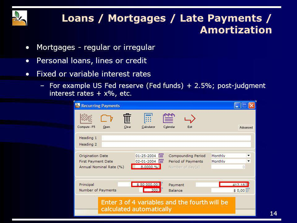 14 Loans / Mortgages / Late Payments / Amortization Mortgages - regular or irregular Personal loans, lines or credit Fixed or variable interest rates