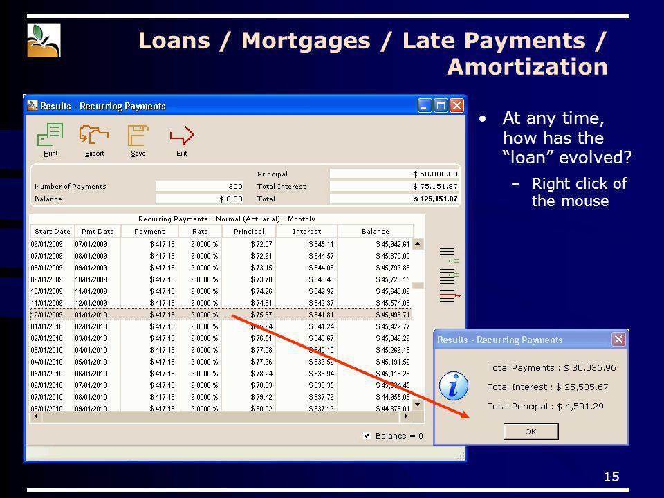 15 Loans / Mortgages / Late Payments / Amortization At any time, how has the loan evolved.