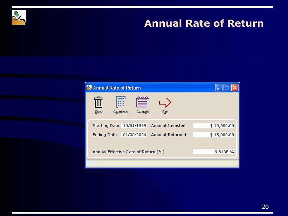 20 Annual Rate of Return