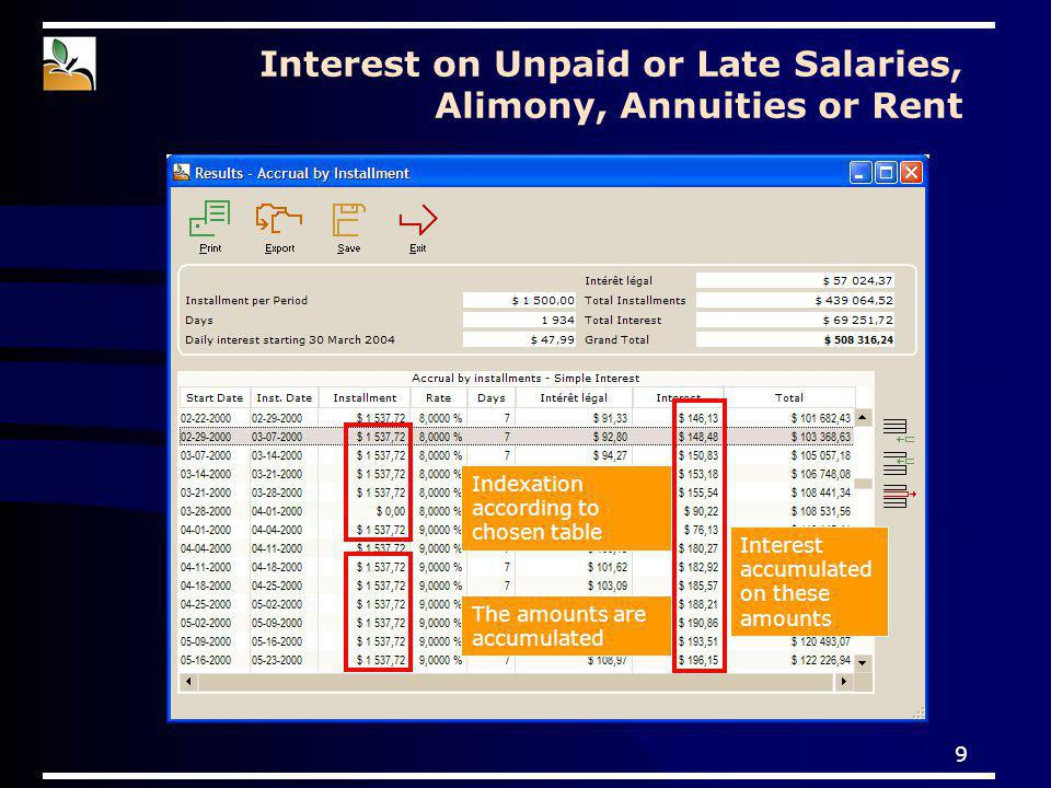 9 Indexation according to chosen table The amounts are accumulated Interest accumulated on these amounts Interest on Unpaid or Late Salaries, Alimony, Annuities or Rent