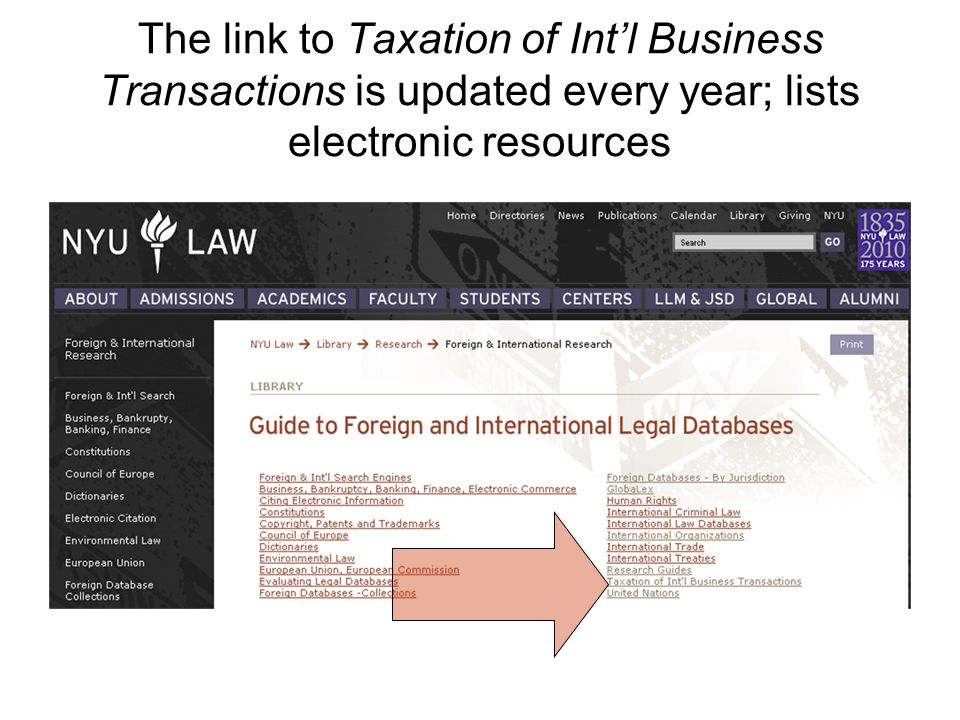 The link to Taxation of Intl Business Transactions is updated every year; lists electronic resources