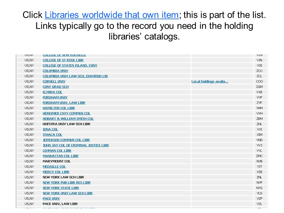 Click Libraries worldwide that own item; this is part of the list.