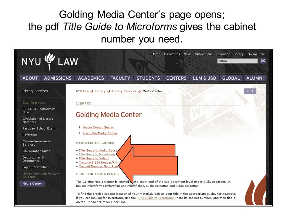 Golding Media Centers page opens; the pdf Title Guide to Microforms gives the cabinet number you need.