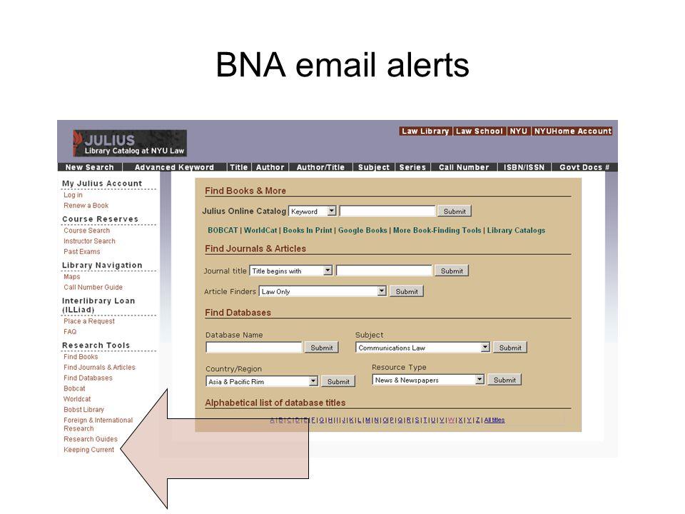 BNA email alerts