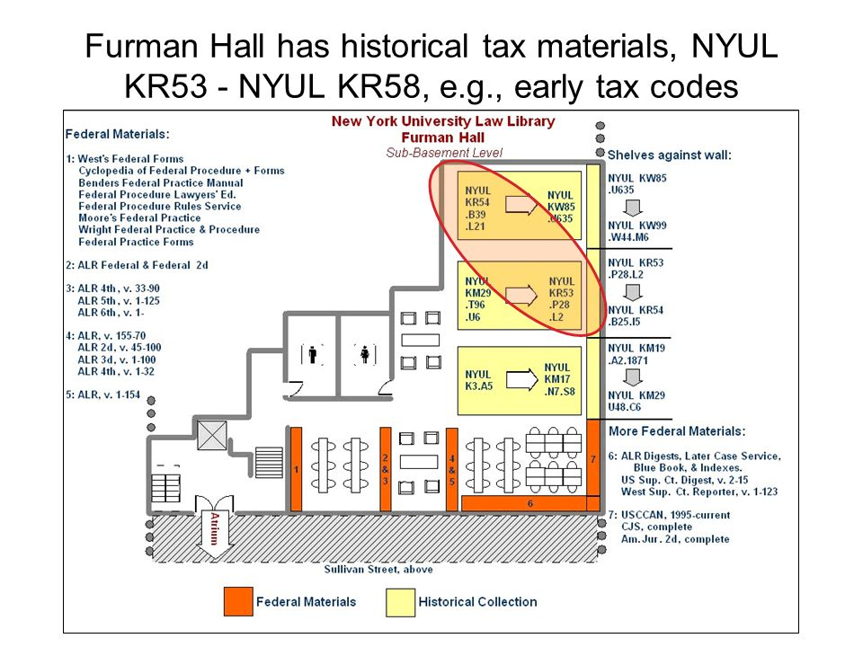 Furman Hall has historical tax materials, NYUL KR53 - NYUL KR58, e.g., early tax codes