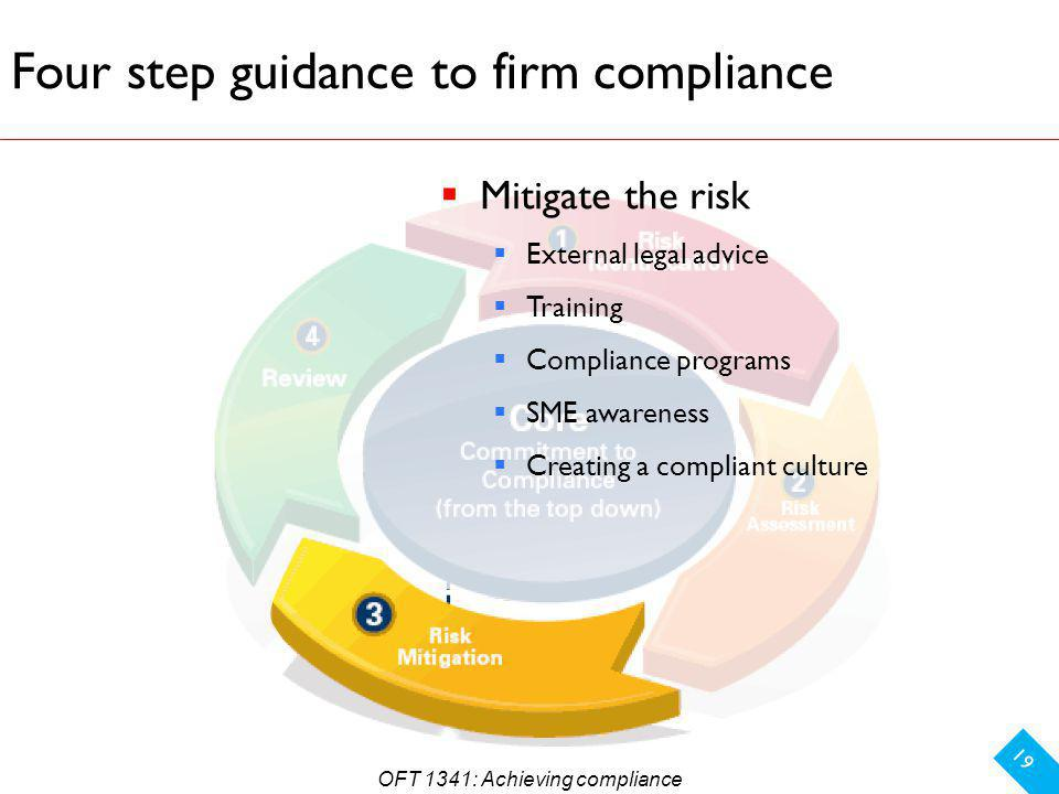 Four step guidance to firm compliance 19 Mitigate the risk External legal advice Training Compliance programs SME awareness Creating a compliant culture OFT 1341: Achieving compliance