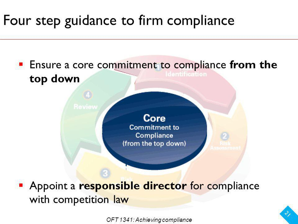 Four step guidance to firm compliance 21 Ensure a core commitment to compliance from the top down Appoint a responsible director for compliance with competition law OFT 1341: Achieving compliance