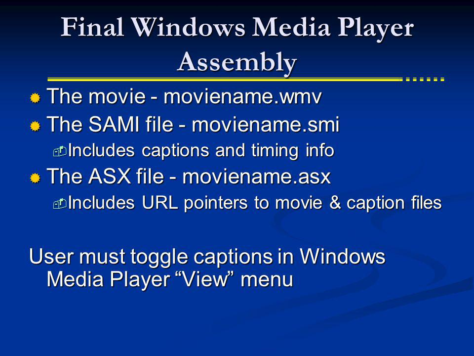Final Windows Media Player Assembly The movie - moviename.wmv The movie - moviename.wmv The SAMI file - moviename.smi The SAMI file - moviename.smi In
