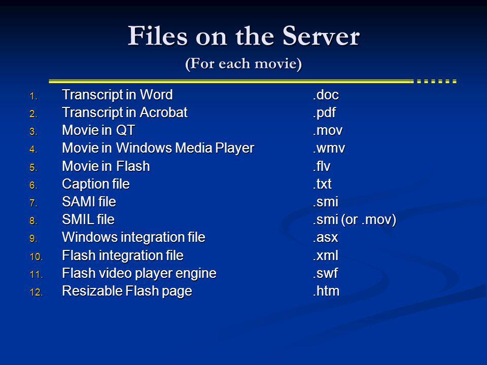 Files on the Server (For each movie) 1. Transcript in Word.doc 2. Transcript in Acrobat.pdf 3. Movie in QT.mov 4. Movie in Windows Media Player.wmv 5.