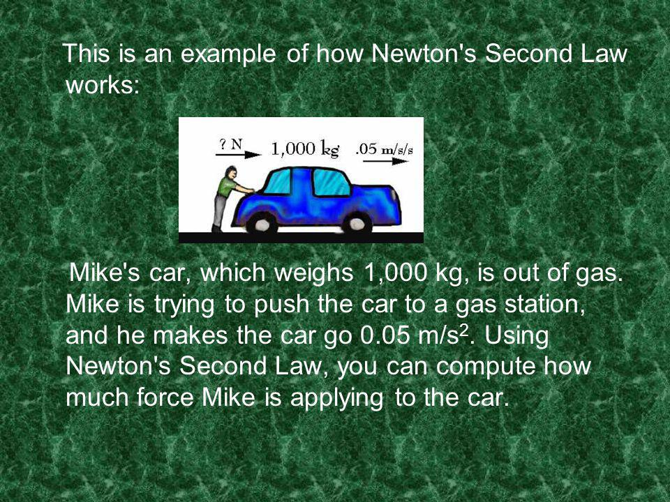 This is an example of how Newton s Second Law works: Mike s car, which weighs 1,000 kg, is out of gas.