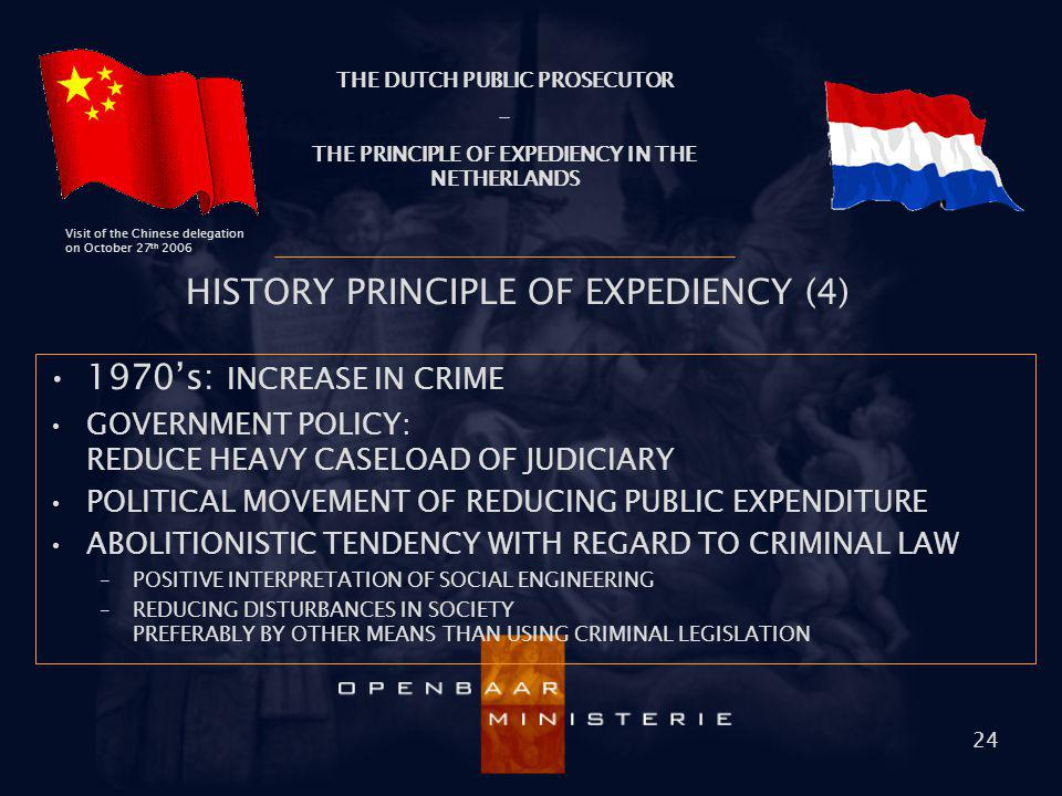 THE DUTCH PUBLIC PROSECUTOR - THE PRINCIPLE OF EXPEDIENCY IN THE NETHERLANDS Visit of the Chinese delegation on October 27 th 2006 24 HISTORY PRINCIPL