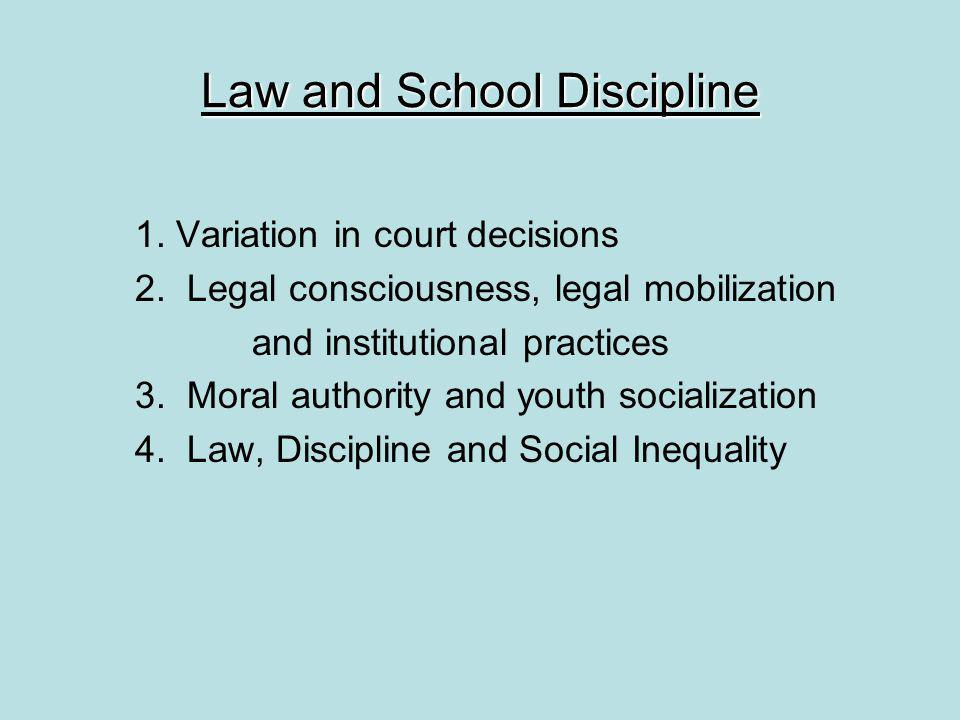 Law and School Discipline 1.Variation in court decisions 2.