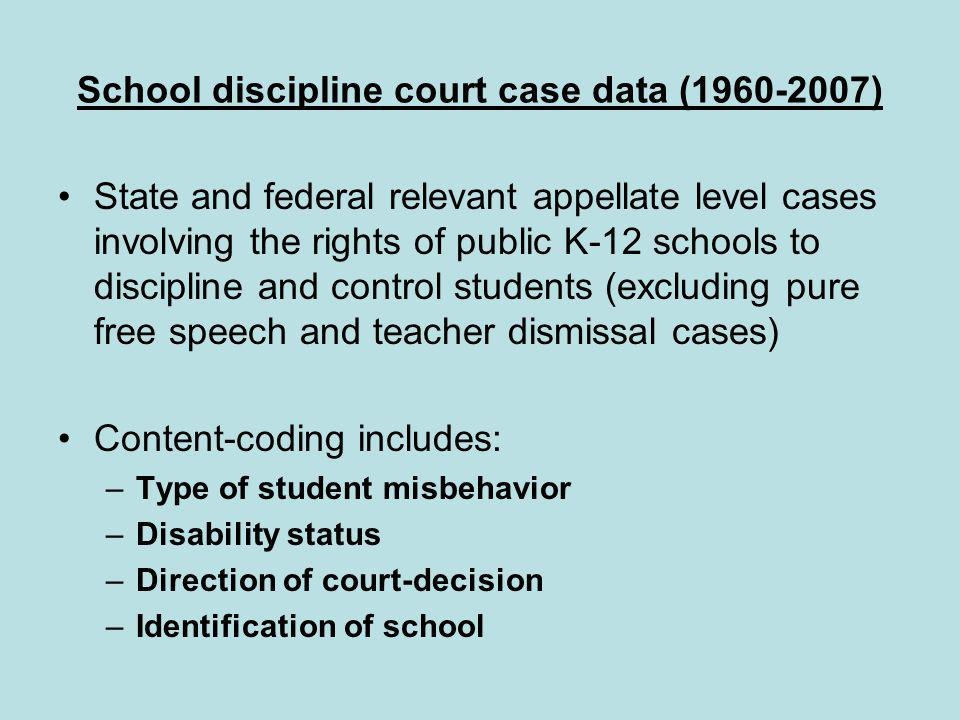 School discipline court case data (1960-2007) State and federal relevant appellate level cases involving the rights of public K-12 schools to discipline and control students (excluding pure free speech and teacher dismissal cases) Content-coding includes: –Type of student misbehavior –Disability status –Direction of court-decision –Identification of school