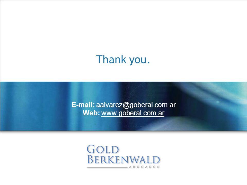 Thank you. E-mail: aalvarez@goberal.com.ar Web: www.goberal.com.ar