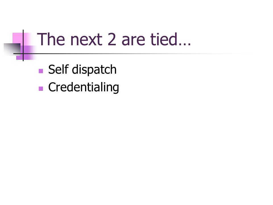 The next 2 are tied… Self dispatch Credentialing