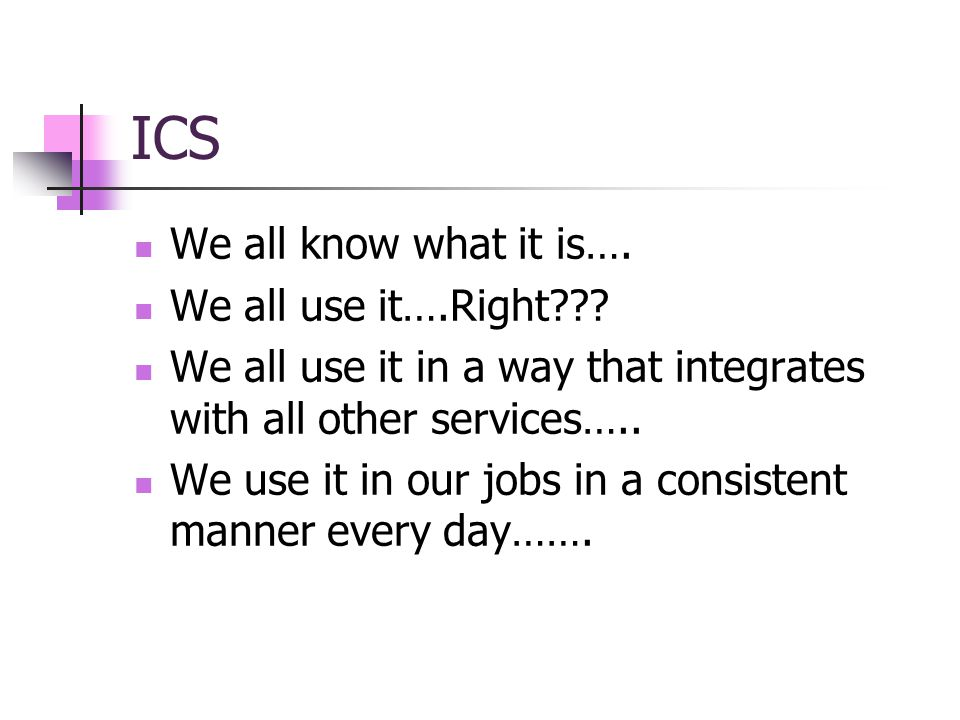 ICS We all know what it is…. We all use it….Right??.