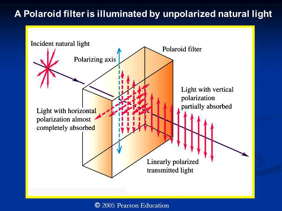 © 2005 Pearson Education A Polaroid filter is illuminated by unpolarized natural light