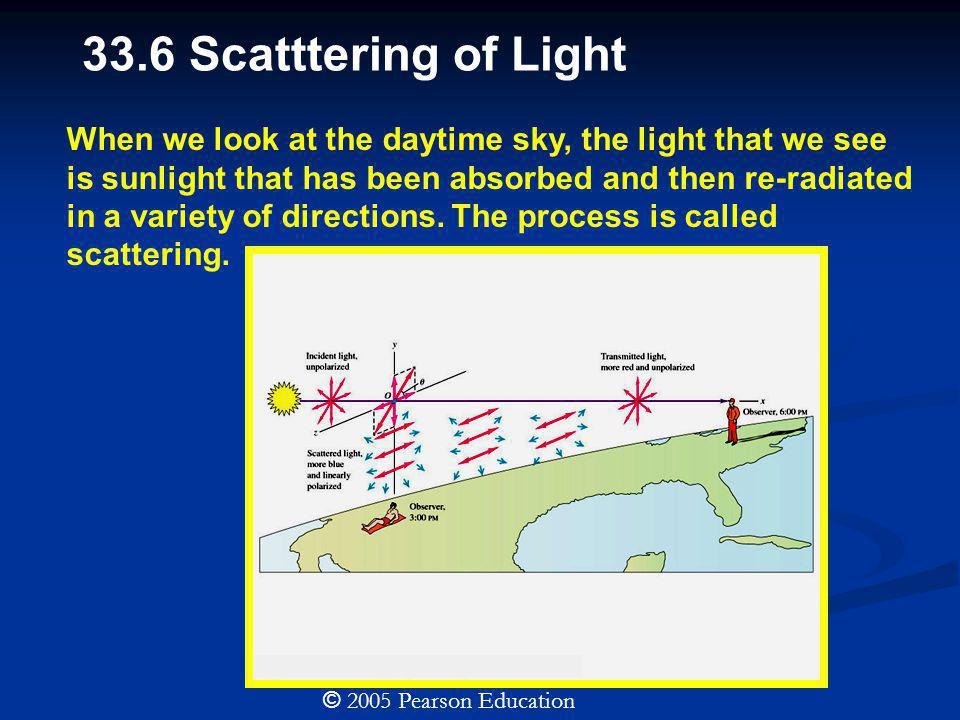 33.6 Scatttering of Light © 2005 Pearson Education When we look at the daytime sky, the light that we see is sunlight that has been absorbed and then