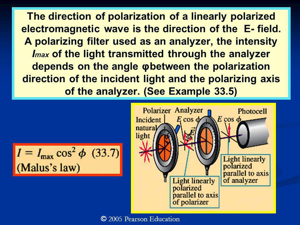 The direction of polarization of a linearly polarized electromagnetic wave is the direction of the E- field. A polarizing filter used as an analyzer,