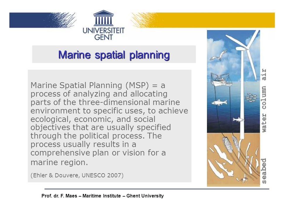 Prof. dr. F. Maes – Maritime Institute – Ghent University Marine Spatial Planning (MSP) = a process of analyzing and allocating parts of the three-dim