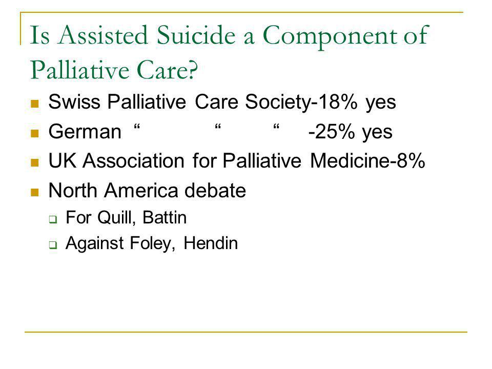 Is Assisted Suicide a Component of Palliative Care.