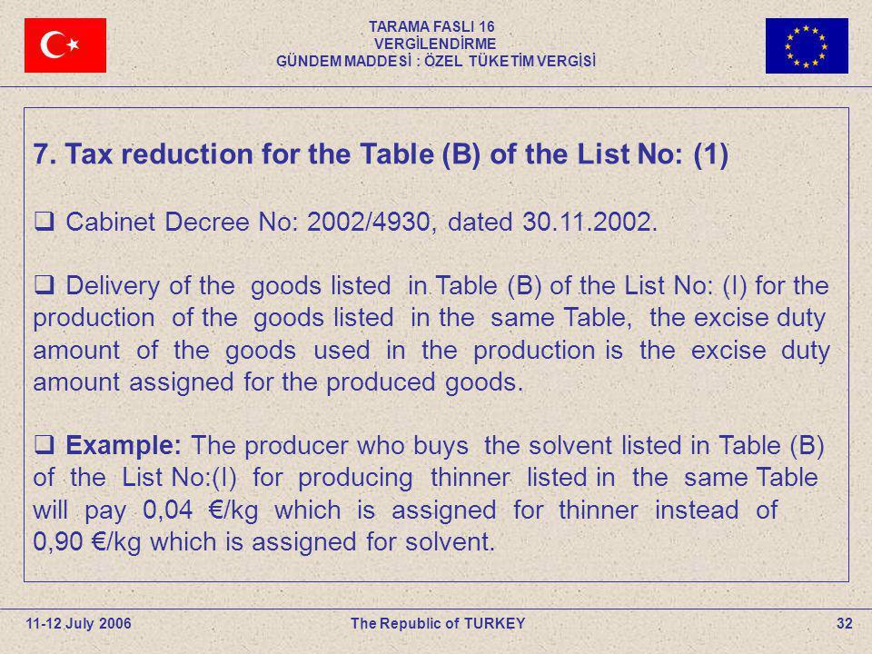 TARAMA FASLI 16 VERGİLENDİRME GÜNDEM MADDESİ : ÖZEL TÜKETİM VERGİSİ 32The Republic of TURKEY11-12 July 2006 7. Tax reduction for the Table (B) of the