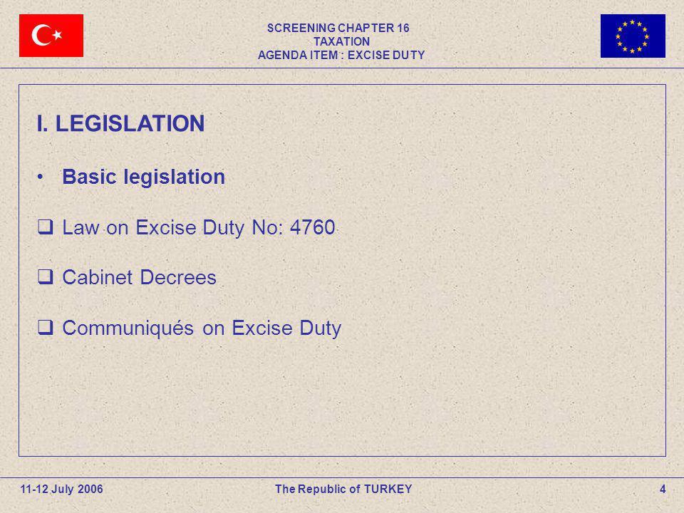 SCREENING CHAPTER 16 TAXATION AGENDA ITEM : EXCISE DUTY 4The Republic of TURKEY11-12 July 2006 I. LEGISLATION Basic legislation Law on Excise Duty No: