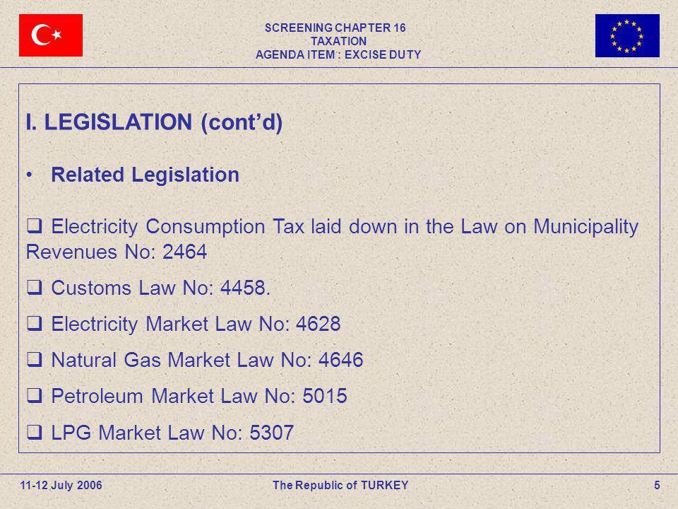 SCREENING CHAPTER 16 TAXATION AGENDA ITEM : EXCISE DUTY 5The Republic of TURKEY11-12 July 2006 I. LEGISLATION (contd) Related Legislation Electricity