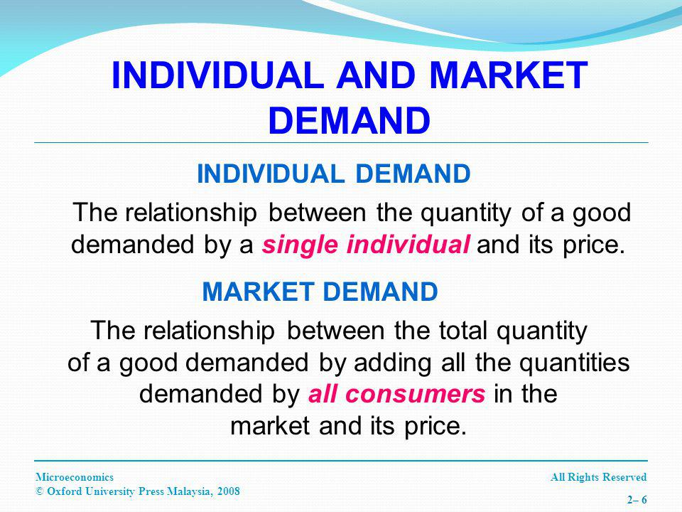 All Rights ReservedMicroeconomics © Oxford University Press Malaysia, 2008 2– 6 INDIVIDUAL AND MARKET DEMAND INDIVIDUAL DEMAND The relationship between the quantity of a good demanded by a single individual and its price.