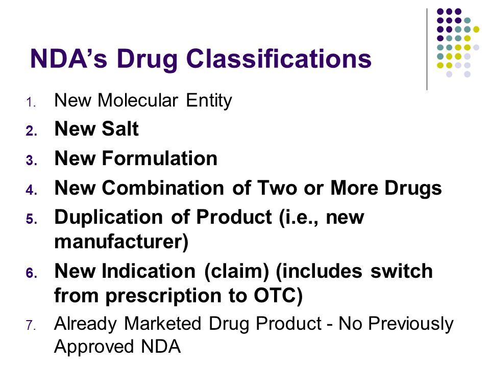NDAs Drug Classifications 1. New Molecular Entity 2.