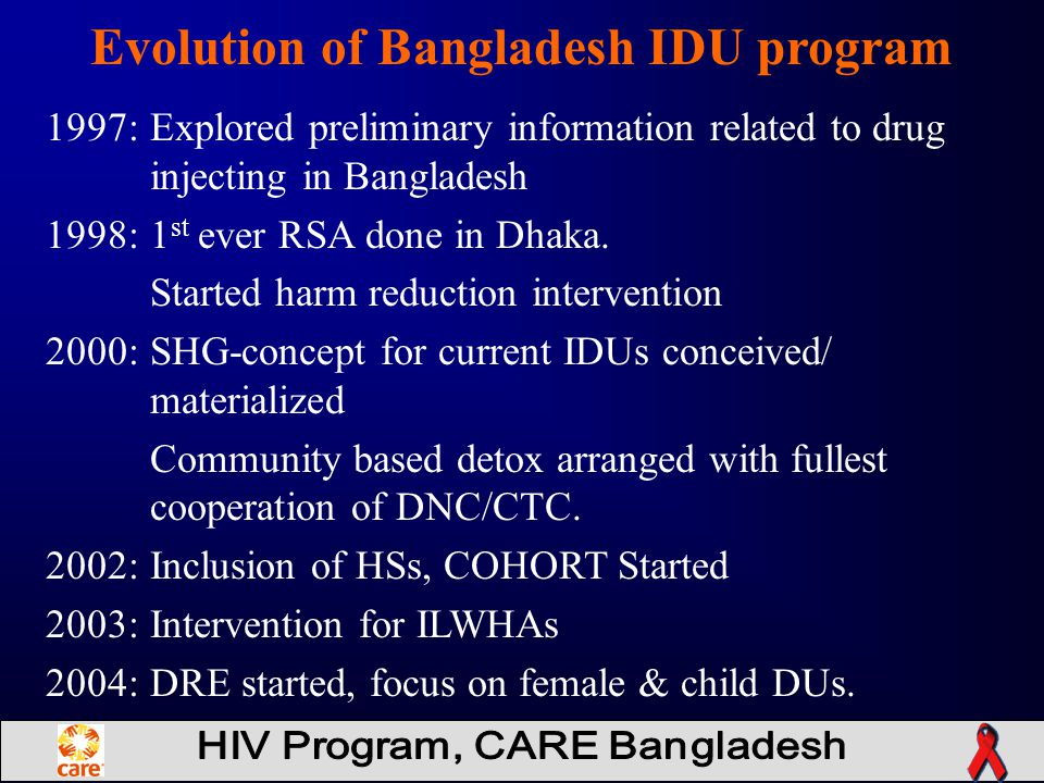 Evolution of Bangladesh IDU program 1997: Explored preliminary information related to drug injecting in Bangladesh 1998: 1 st ever RSA done in Dhaka.
