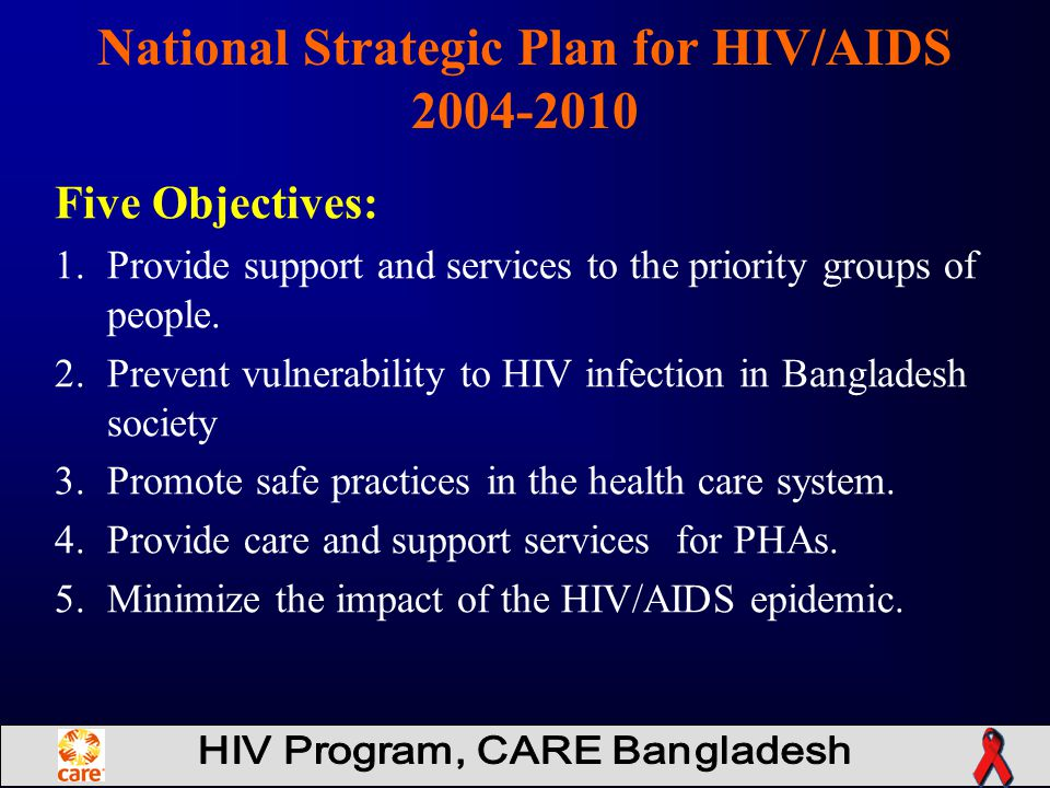 Five Objectives: 1.Provide support and services to the priority groups of people.