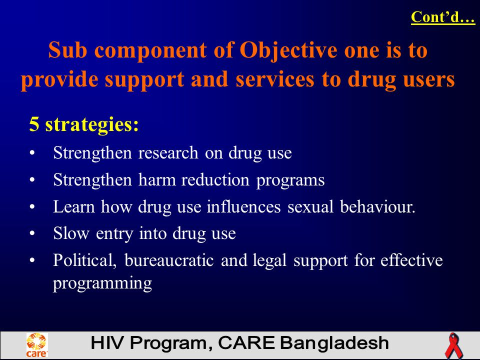5 strategies: Strengthen research on drug use Strengthen harm reduction programs Learn how drug use influences sexual behaviour.