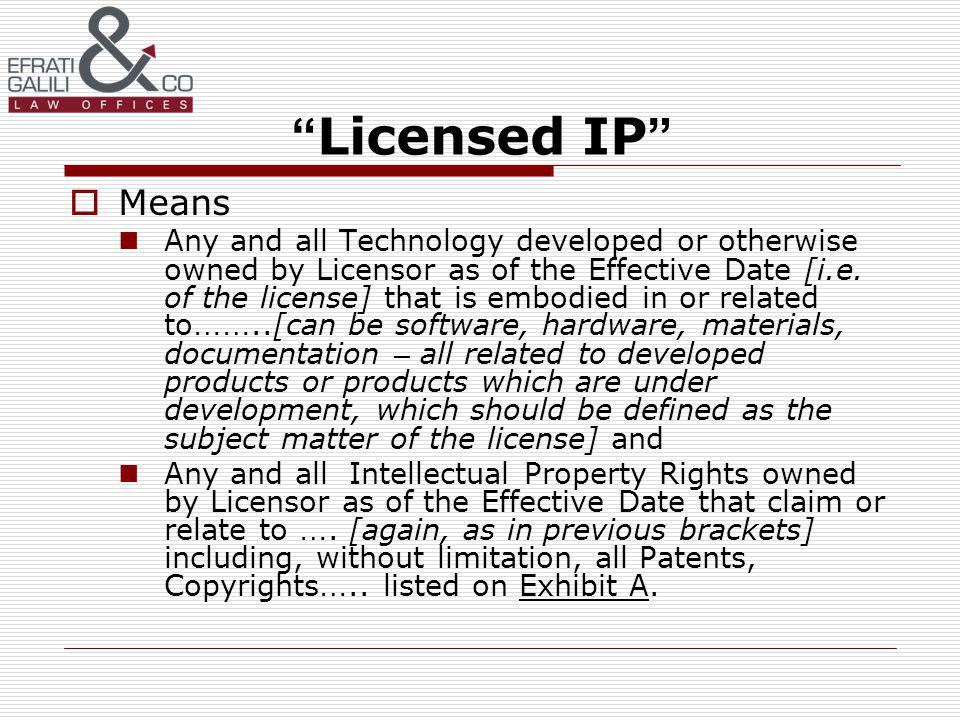 Licensed IP Means Any and all Technology developed or otherwise owned by Licensor as of the Effective Date [i.e.