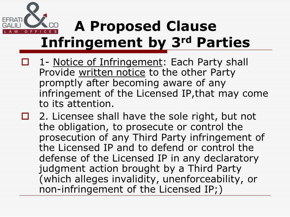 A Proposed Clause Infringement by 3 rd Parties 1- Notice of Infringement: Each Party shall Provide written notice to the other Party promptly after becoming aware of any infringement of the Licensed IP,that may come to its attention.