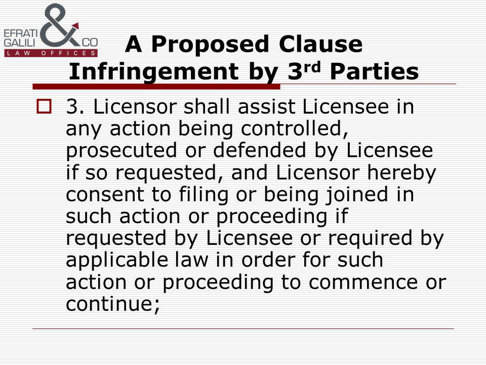 A Proposed Clause Infringement by 3 rd Parties 3.